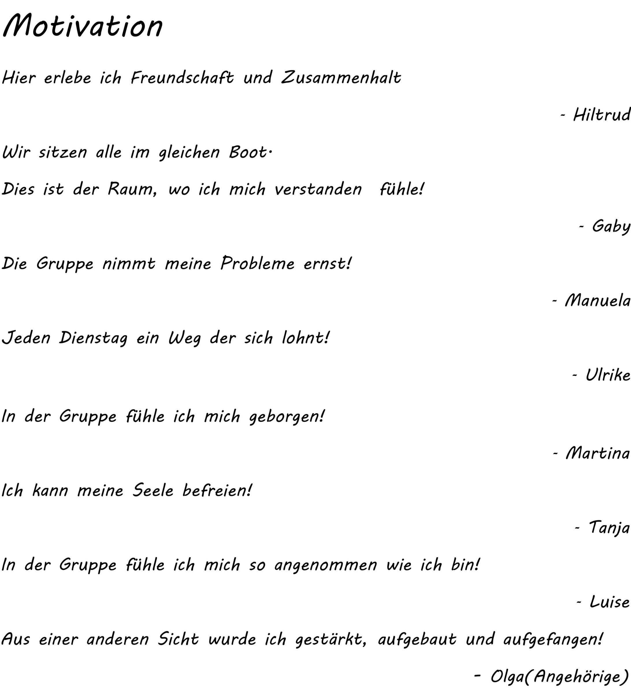 Frauenselbsthilfegruppe Motivation   Suchtberatung Sigmaringen